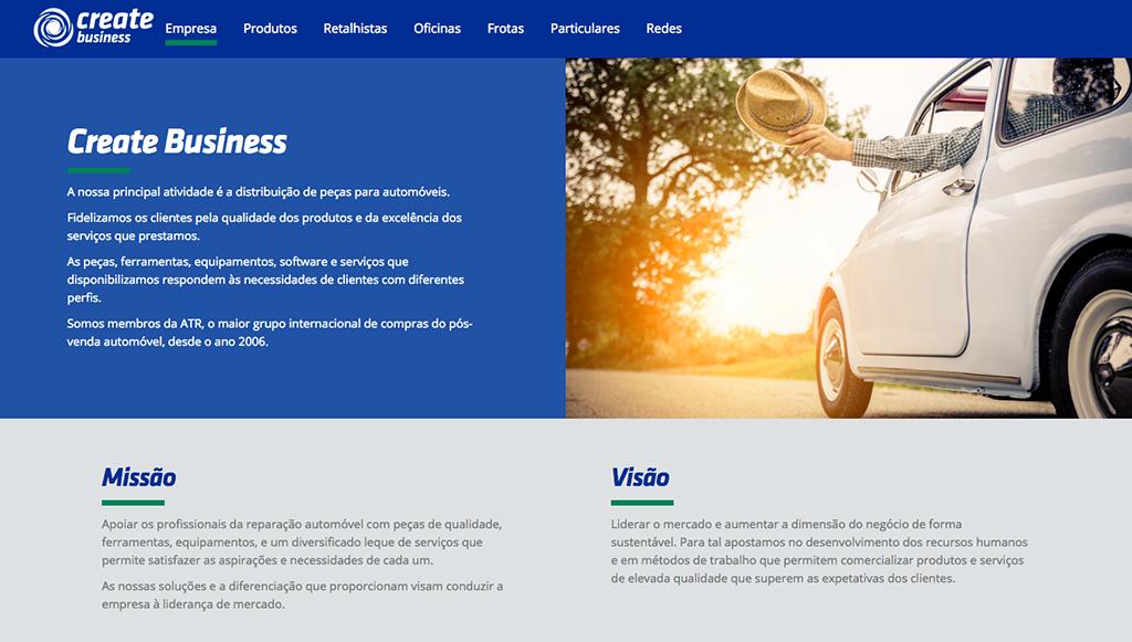 Create Business lança novo Website